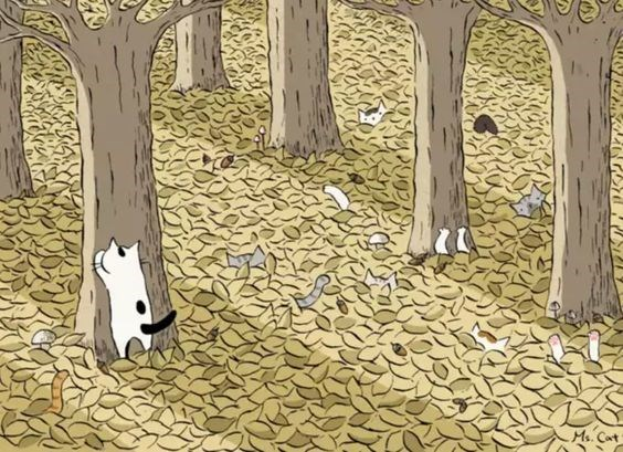 Cats playing hide-n-seek and they are all in the deep leaves hiding