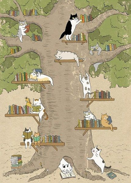 Cats on a tree with shelves and reading books.