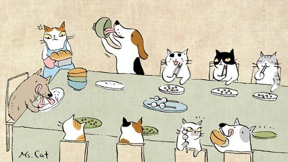 Cats complaining that the dog has no manners while the cats eat politely and neatly.
