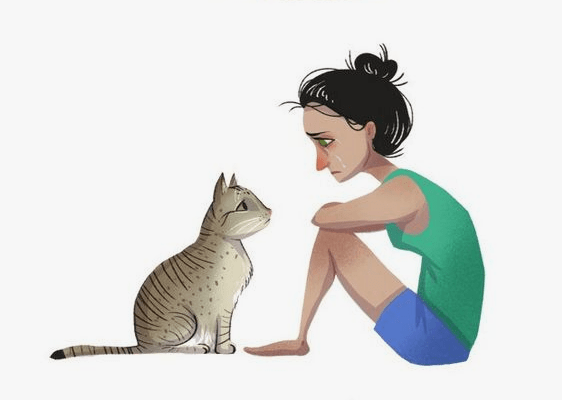 Always count on cats comic girl and cat staring at each other.
