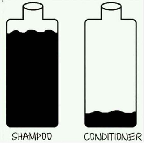 Meme comic about having plenty of shampoo but running out of conditioner.