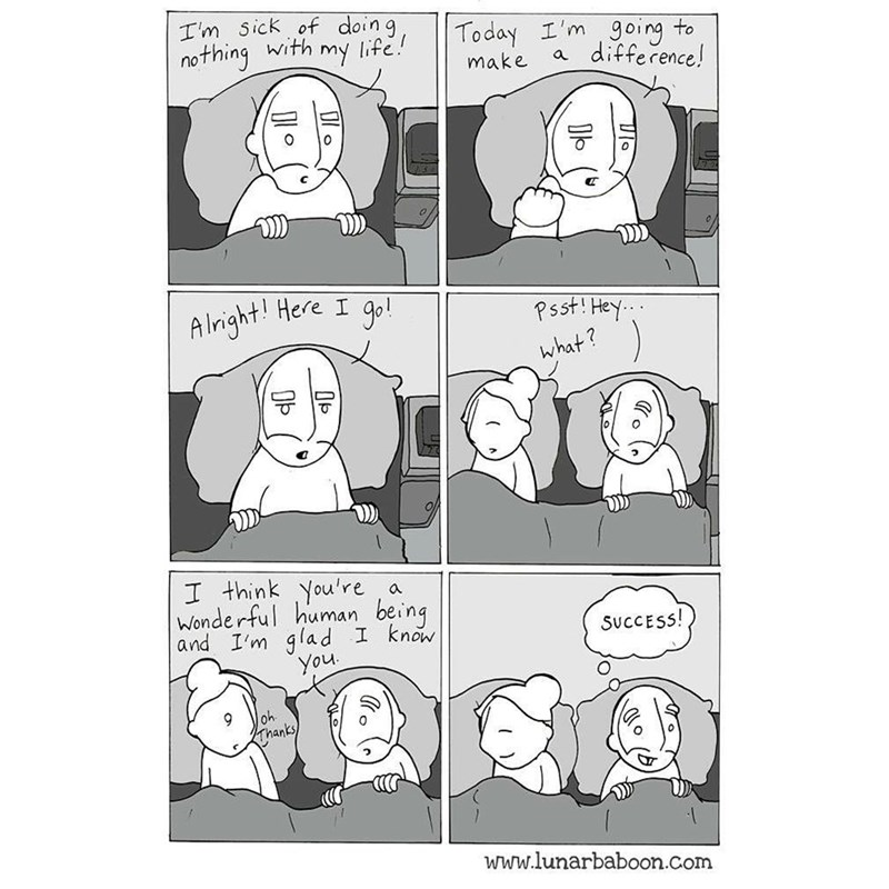 wholesome comic about making a difference by telling someone what they mean to you.