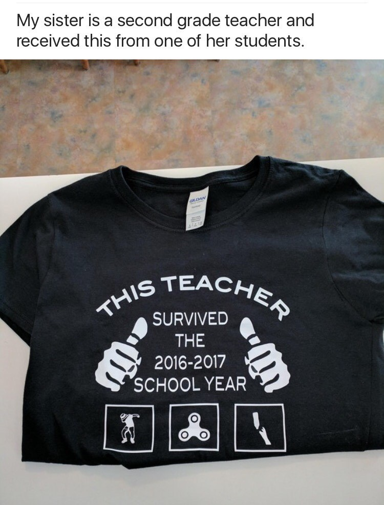 T-shirt for teachers that survived the 2016-2017 school year with hover boards and fidget spinners.