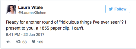 Laura Vitale tweets about how ridiculous the Prada $185 paper clip is.
