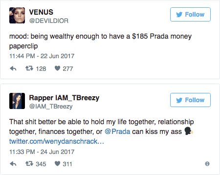 Rapper IAM TBreezy and VENUS tweet their angst against the $185 paper clip