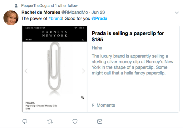 Rachel De Morales notices that it is a Brand power thing to be able to sell a $185 paper clip