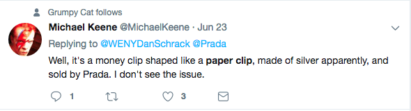Michael Keene gripes about the prada paper clip