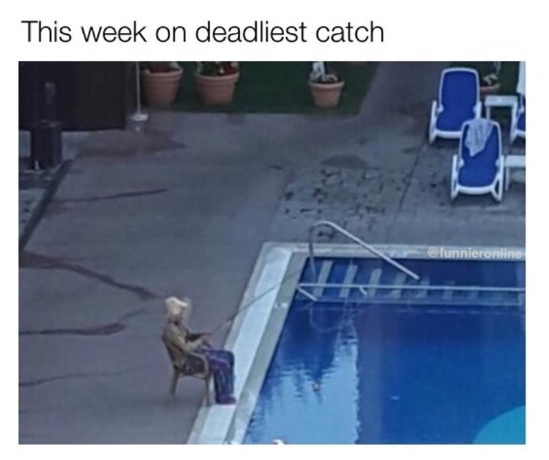 "Funny meme comparing person ""fishing"" in a pool to the television show the deadliest catch."
