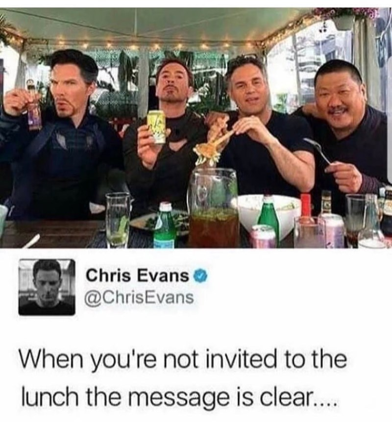Funny meme about Chris Evans feeling left out as the stars from other Avengers/Marvel films get lunch without him.