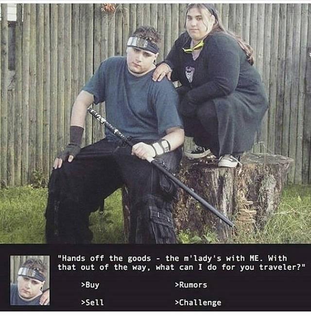 Cringe ninja with Katana and fat m'lady