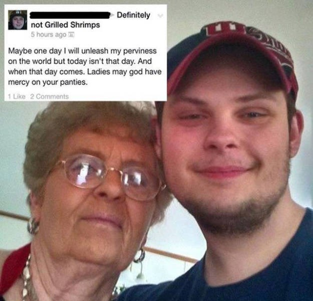 Perv comment about someone posing with a grandmother