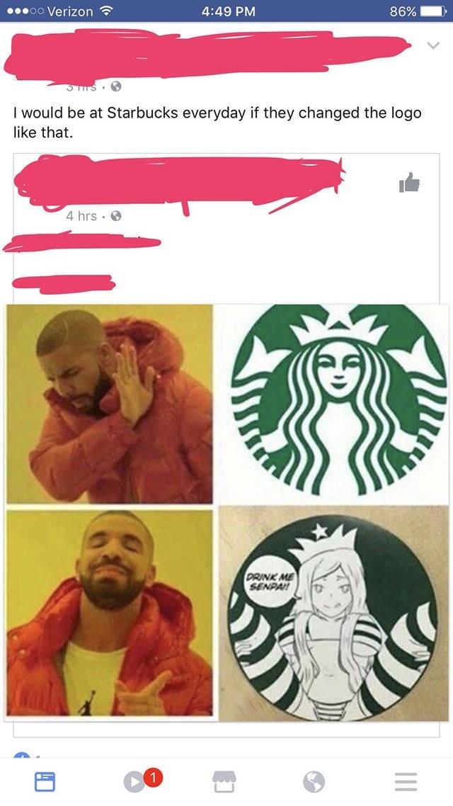 Drake cellphone music video meme of a better Starbucks logo