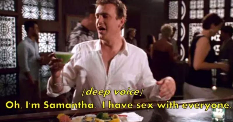 Jason Segal as Marshall Erikson making fun of Samantha from Sex and the City.