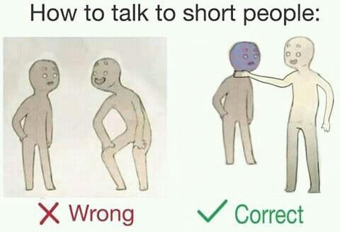 Joint - How to talk to short people: Correct Wrong