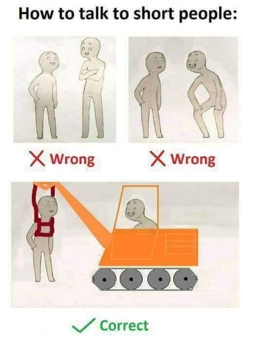 Shoulder - How to talk to short people: Wrong Wrong Correct