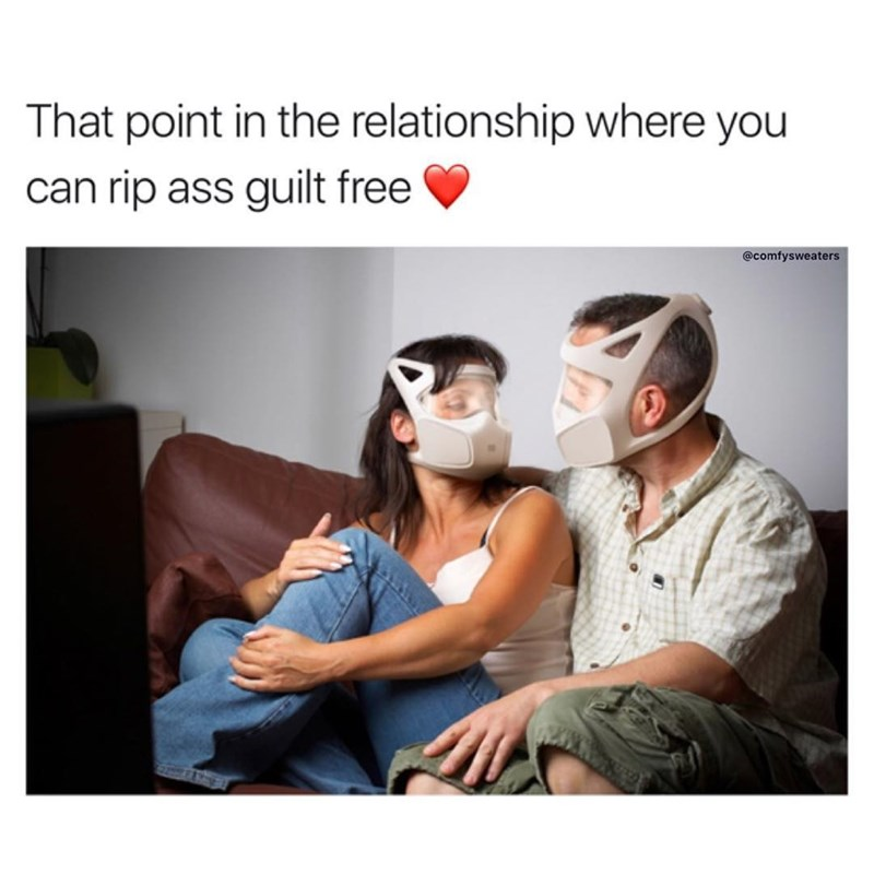 Couple wearing some advanced looking gas masks captioned jokingly that they are at the point of their relationship in which they can fart guilt free.