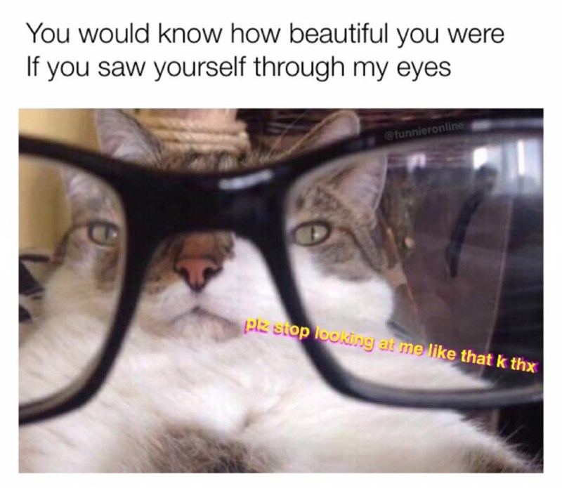 Meme about looking beautiful with those glasses.