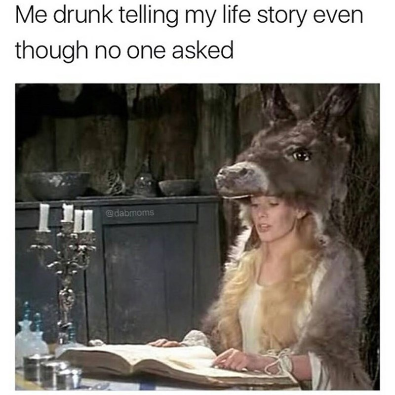 Woman wearing a horse head and reading from a book captioned about telling life story when no one asked and drunk
