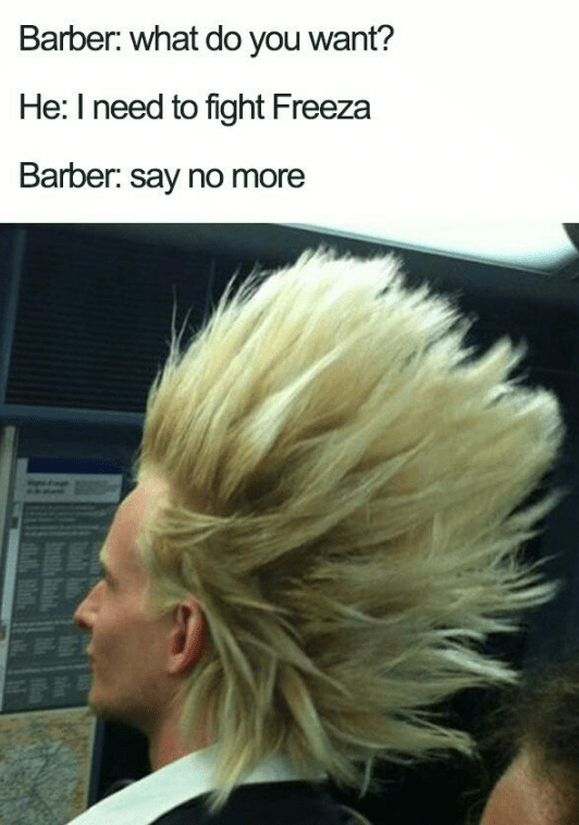 Haircut that looks like you are about to fight Freeza
