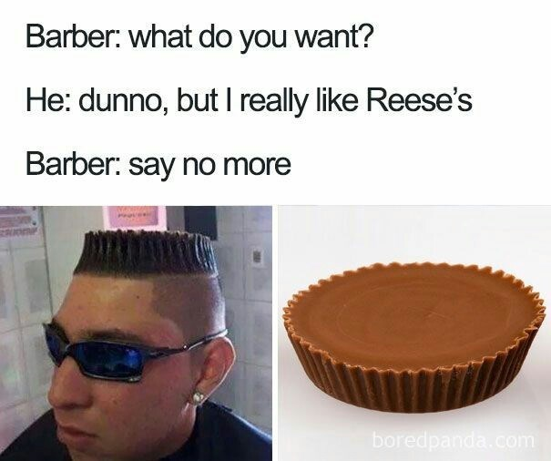 Haircut that looks like Reese's peanut butter cups