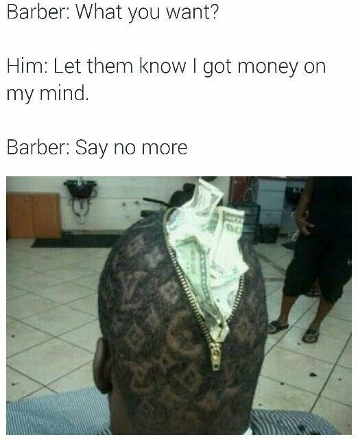Haircut that looks like a bag of money