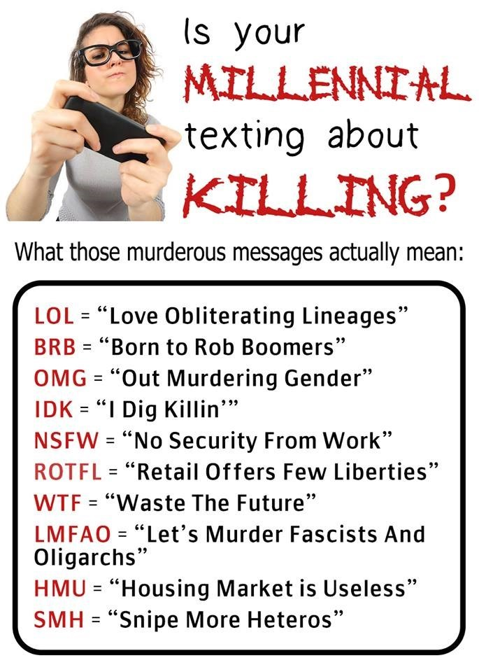 Funny fake message about what millenials are texting and what it really means.