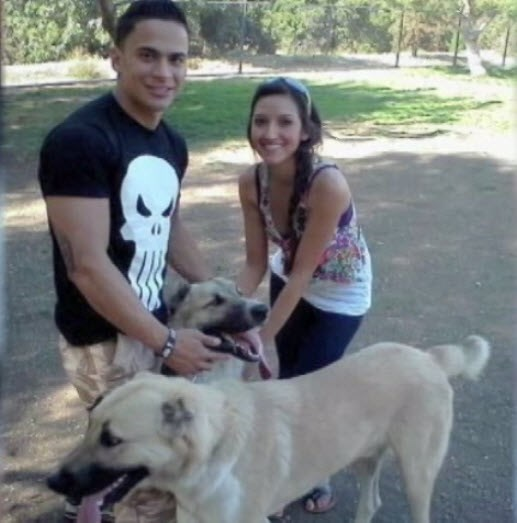 Andrew Morales with his two dogs
