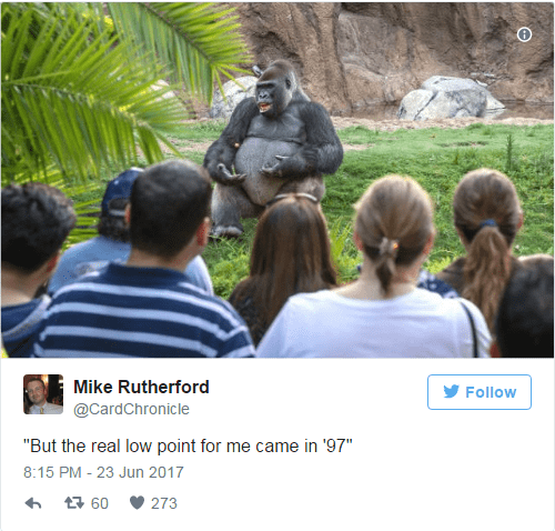 But the real point came to me in 97 TED talk Gorilla Meme