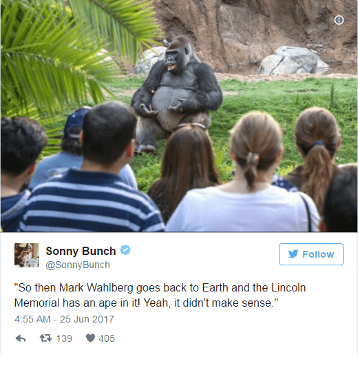 Sonny Bunch tweets about Mark Wahlberg version of planet of the apes movie as told by the TED Talk gorilla
