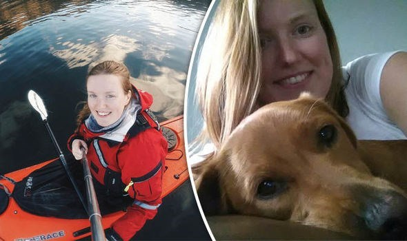 Composite pic of Emma Higgins in a kayak and selfie with brown dog.