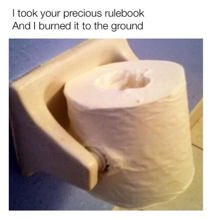 Funny meme where someone put a roll of toilet paper on completely wrong, saying they took your rule book and burnt it to the ground.