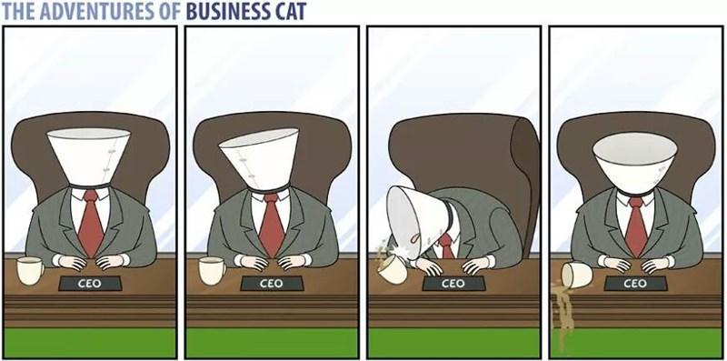 The Adventures of Business Cat Cartoon wearing a cone on his head and knocking over the coffee when trying to drink it.