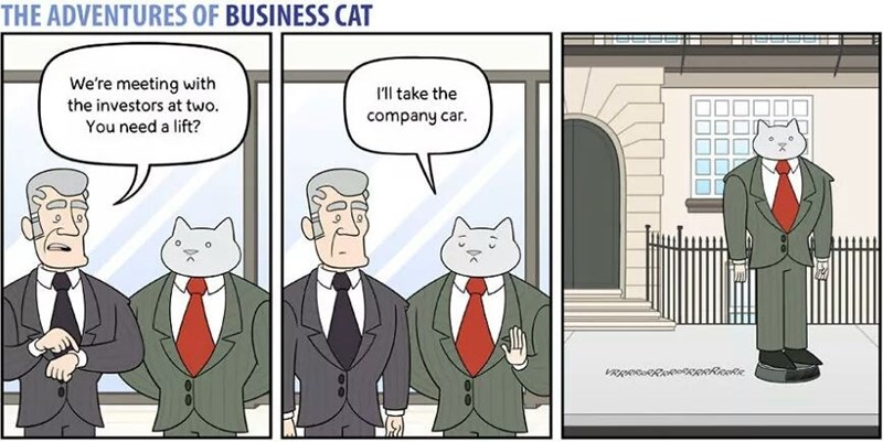 The Adventures of Business Cat Cartoon taking the company car which is an irobot roomba