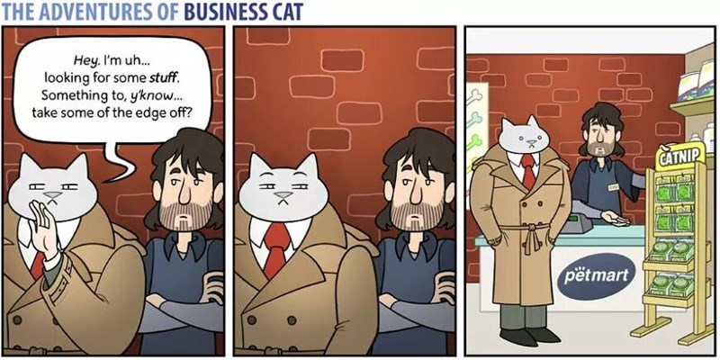 The Adventures of Business Cat Cartoon in shady area trying to find something to take the edge off, goes to pet shop