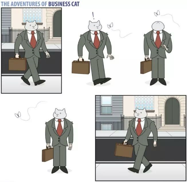 The Adventures of Business Cat Cartoon - cat walking to work and then changing directions to chase a butterfly