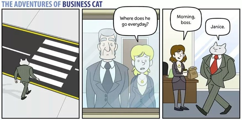 The Adventures of Business Cat Cartoon - parents wondering why he goes everyday