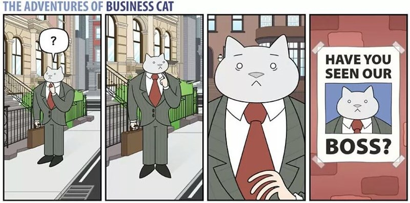 The Adventures of Business Cat Cartoon boss things he is lost, see picture looking for him.