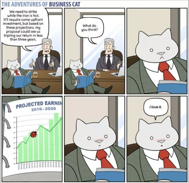 The Adventures of Business Cat Cartoon looking at the projected earnings but being distracted by a bug on the paper.