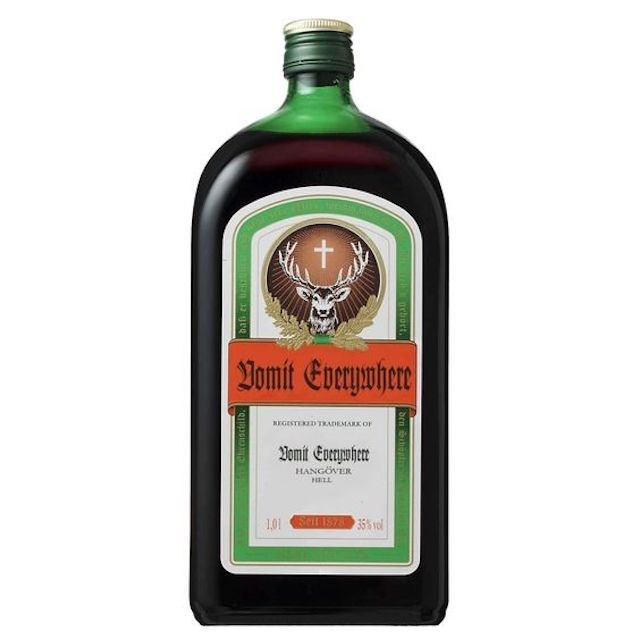 Liqueur - t Bomit Everyemhere REGESTERED TRADEMARK OF omit Eveyher HANGOVER HLL 101 IS7835% vo Ocbort. den Circaocitlo2