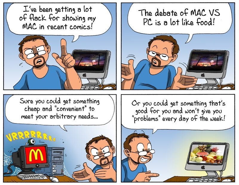 """Cartoon - I've been getting a lot of flack for showing my MAC in recent comics! The debate of MAC VS PC is a lot like food! Sure you could set something cheap and """"convenient"""" to meet your arbitrary needs... Or you could get something that's good for you and won't give you problems"""" every day of the week! RRRRRRR"""