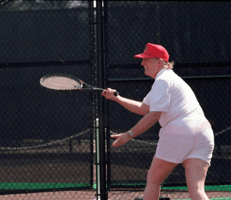 Lenny Cravatz on Reddit photoshops a real subtle change into the Trump tennis pic so that it looks like the man is wearing panties.