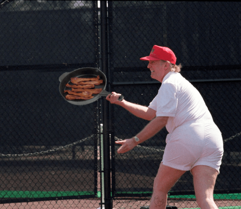 Trump playing tennis meme reddit user santorumsandwich makes him flipping bacon.