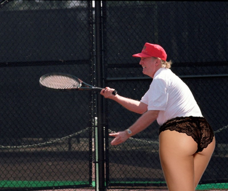 OODank photoshops Donald Trump playing tennis to have woman's ass