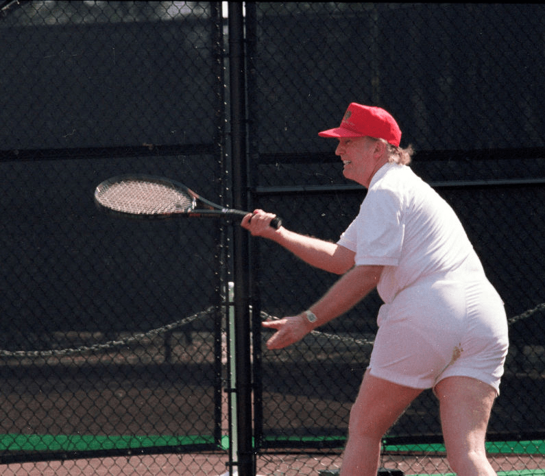 Donald Trump tennis photoshop battle in which a tiny brown dot is applied to 45's shorts.