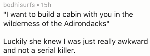 """Text - bodhisurfs 15h """"I want to build a cabin with you in the wilderness of the Adirondacks"""" Luckily she knew I was just really awkward and not a serial killer."""