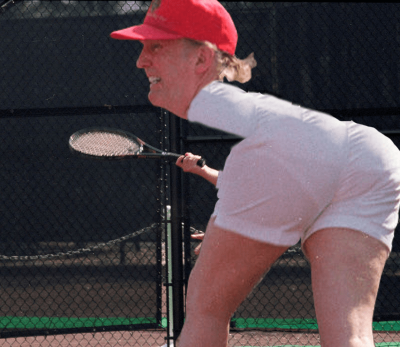 Dreaded Semi photoshop battle of Donald Trump tennis so that proportions are all off.