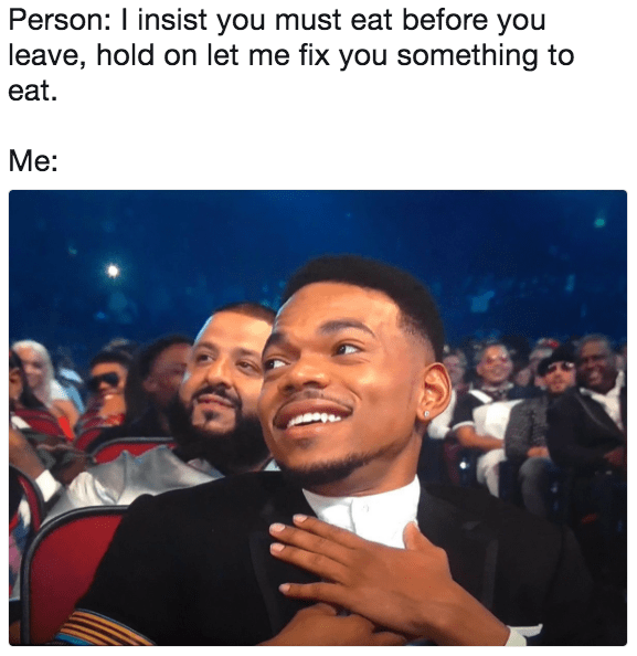Chance the Rapper meme about someone making you food.