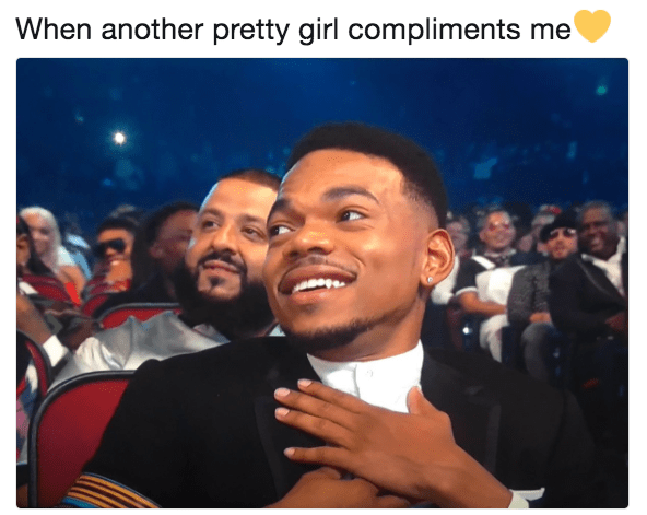 Chance the Rapper meme when a girl compliments you.