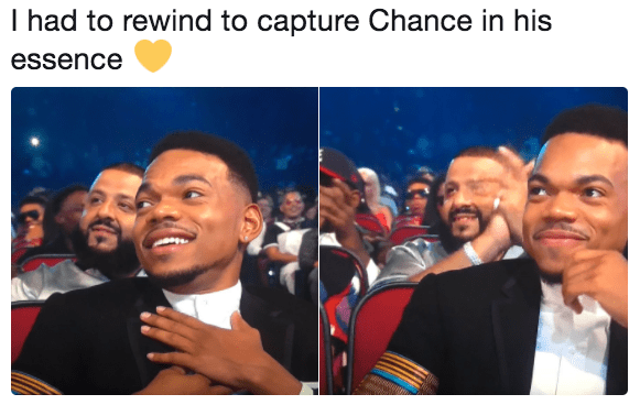 Chance the Rapper meme with a 1 second rewind to catch his essence.