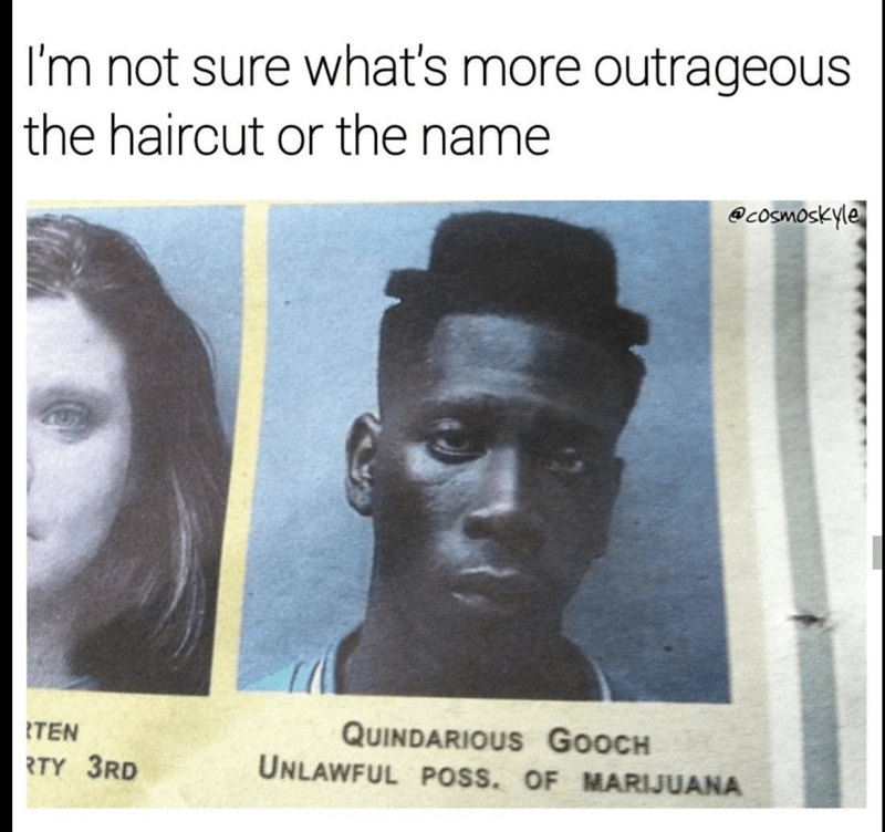 Man named Quindarius Gooch mug shot for unlawful possession of marijuana and has hair cut in the shape of a hat